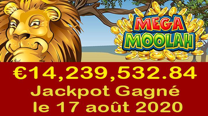 Mega Moolah Jackpot de 14.2 millions gagné le 17 août 2020