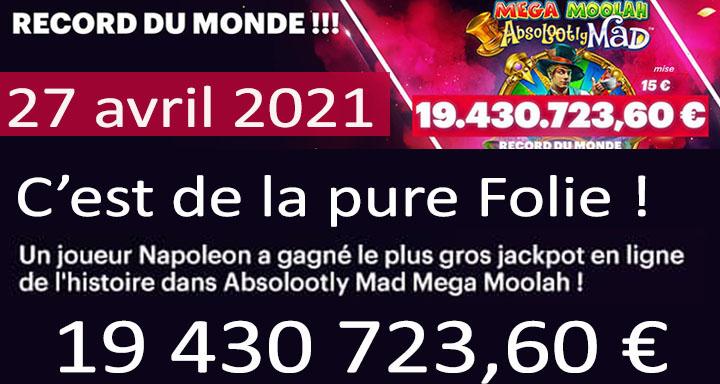 Record Mega Moolah gagné en 2021