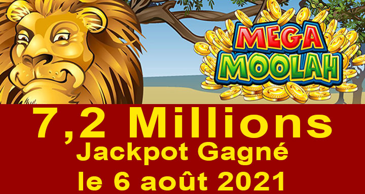 Mega Moolah gagnant du 6 août 2021